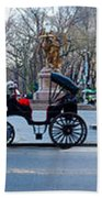 Central Park Horse Carriage Station Panorama Beach Towel