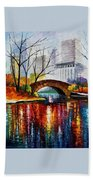 Central Park - Palette Knife Oil Painting On Canvas By Leonid Afremov Beach Towel