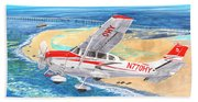 Cessna 206 Flying Over The Outer Banks Beach Towel