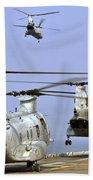 Ch-46e Sea Knight Helicopters Take Beach Towel