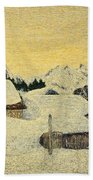 Chalets In Snow Beach Towel by Giovanni Segantini