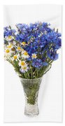 White Camomile And Blue Cornflower In Glass Vase  Beach Towel