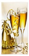 Champagne And New Years Party Decorations Beach Towel