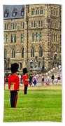 Changing Of The Guard In Front Of Parliament Building In Ottawa- Beach Towel