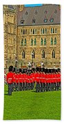 Changing Of The Guard In Front Of The Parliament Building In Ottawa-on Beach Towel