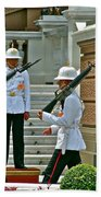 Changing Of The Guard Near Reception Hall At Grand Palace Of Thailand In Bangkok Beach Towel