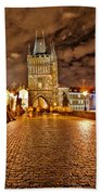 Charles Bridge At Night Beach Towel
