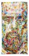 Charles Mingus Watercolor Portrait Beach Towel