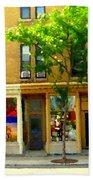 Charlevoix And Notre Dame Little Antique Shops St Henri Art Montreal Street Scene Carole Spandau Beach Towel