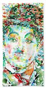Charlie Chaplin - Watercolor Portrait Beach Towel