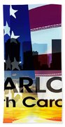 Charlotte Nc Patriotic Large Cityscape Beach Towel by Angelina Vick