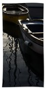 Charming Old Wooden Boats In The Harbor Beach Towel