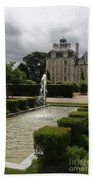 Chateau De Cheverny With Garden Fountain Beach Towel