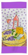Cheese And Wine Beach Towel