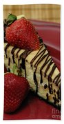 Cheesecake With Strawberries Beach Towel