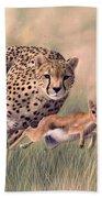 Cheetah And Gazelle Painting Beach Towel