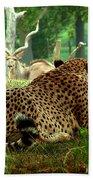 Cheetah Lunch-87 Beach Towel