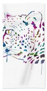 Cheetah Watercolor - White Beach Towel