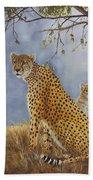 Cheetah With Cub Beach Towel