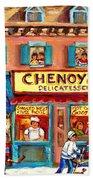 Chenoys Delicatessen Montreal Landmarks Painting  Carole Spandau Street Scene Specialist Artist Beach Towel