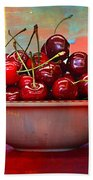 Cherries On The Table With Textures Beach Towel