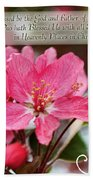 Cherry Blossom Greeting Card With Verse Beach Towel