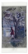 Cherry Blossom Red Abstract Beach Towel