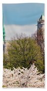 Cherry Blossoms And The Sacred Heart Beach Towel