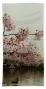 Cherry Blossoms On A Foggy Morning Beach Towel