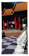 Chess In China Town Beach Towel