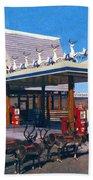 Chevron Gas Station At Santa's Village With Reindeer And Carl Hansen Beach Towel