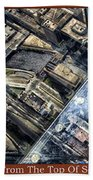 Chicago A View From The Top Of Sears Willis Tower Hdr Triptych 3 Panel Beach Towel