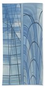 Chicago Abstract Before And After Blue Glass 2 Panel Beach Towel