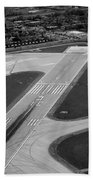 Chicago Airplanes 04 Black And White Beach Towel