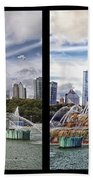 Chicago Buckingham Fountain 2 Panel Looking West And North Black Beach Towel