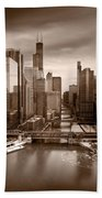 Chicago City View Afternoon B And W Beach Towel
