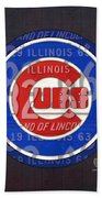 Chicago Cubs Baseball Team Retro Vintage Logo License Plate Art Beach Towel by Design Turnpike