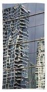 Chicago Facade Reflections Beach Towel