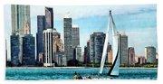Chicago Il - Sailboat Against Chicago Skyline Beach Towel