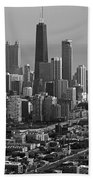Chicago Looking East 01 Black And White Beach Towel