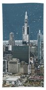 Chicago Looking West In A Snow Storm Digital Art Beach Towel
