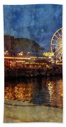 Chicago Navy Pier At Night Beach Towel
