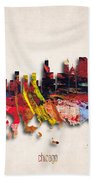 Chicago Painted City Skyline Beach Towel
