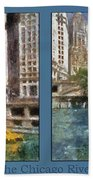 Chicago River 2 Panel Beach Towel