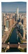 Chicago River Aloft Beach Towel