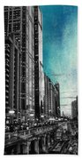 Chicago River Hdr Sc Textured Beach Towel