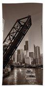 Chicago River Traffic Bw Beach Towel