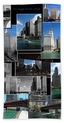 Chicago River Walk Collage Beach Towel