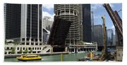 Chicago River Walk Construction Beach Towel
