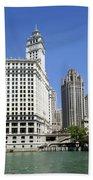 Chicago River Walk Wrigley And Tribune Beach Towel